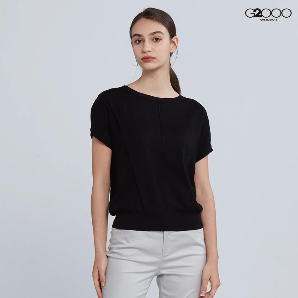 G2000時尚素面短袖針織衫-黑色