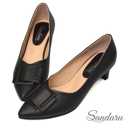 山打努SANDARU-尖頭鞋 知性美人方釦中跟鞋-黑