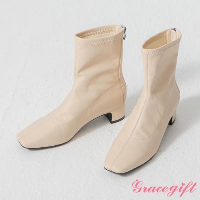 Grace gift-韓系方頭皮革襪靴 米白