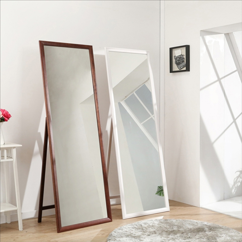 佳美 免組裝附掛勾兩用實木立鏡(1入)壁鏡 穿衣鏡 化妝鏡