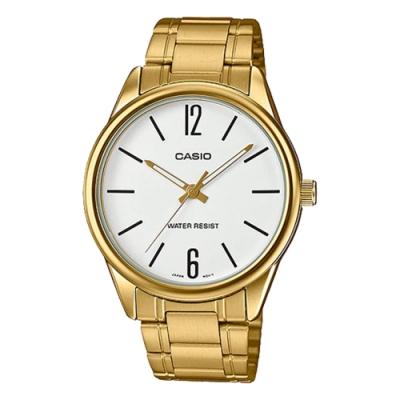 CASIO 高貴雅致金鍊不鏽鋼錶(MTP-V005G-7B)-白/40mm