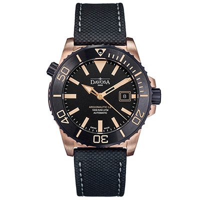 DAVOSA Argonautic Bronze青銅排氦氣300M專業潛水限量錶/黑