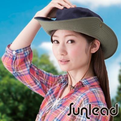 Sunlead 防風吹落防曬寬緣透氣遮陽帽/登山帽 (海軍藍)
