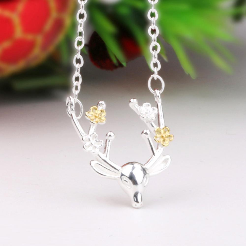 iSFairytale伊飾童話 花與鹿 亮麗白銀銅鍍30銀項鍊