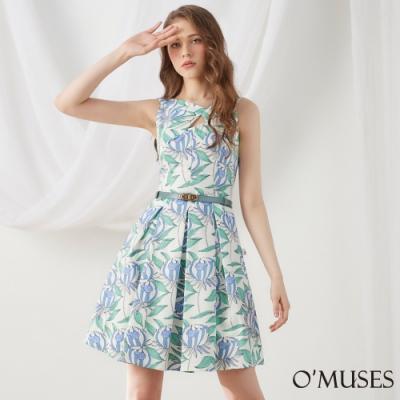 OMUSES V領簍空印花A-Line壓褶洋裝