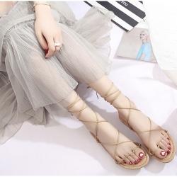 KEITH-WILL時尚鞋館 浪漫情愫綁帶羅馬涼鞋 淺棕