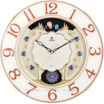 POWER霸王鐘錶-歐式童話鎮城堡音樂鐘-焦糖棕-PW-6138-APMKS-40.1CM