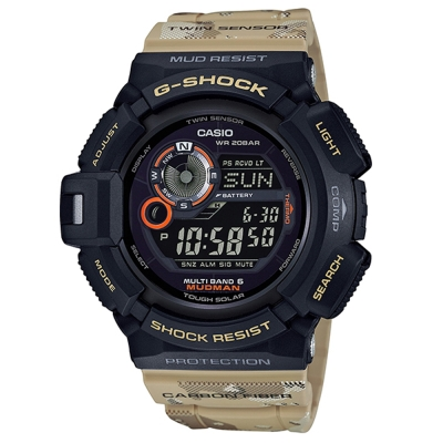 G-SHOCK探險行家軍事迷彩風防塵泥太陽能電波錶(GW-9300DC-1A)53mm