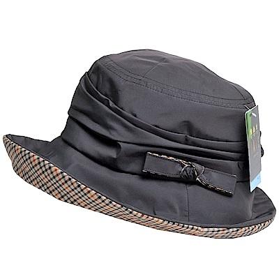 DAKS 日本製抗UV科技纖維格紋蝴蝶結造型遮陽帽(黑灰)