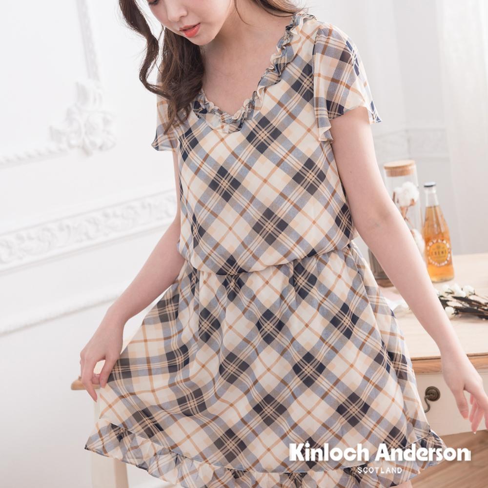 【Kinloch Anderson金安德森女裝】V領荷葉格紋雪紡洋裝