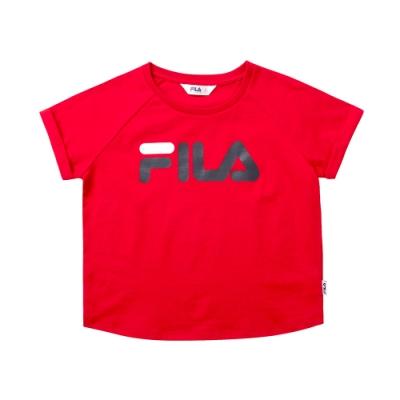 FILA KIDS 女童短袖圓領T恤-紅色 5TET-4509-RD
