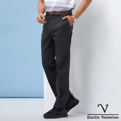 Emilio Valentino范倫鐵諾男裝精選高質感彈力素面平面休閒褲_黑灰(70-1A5711)