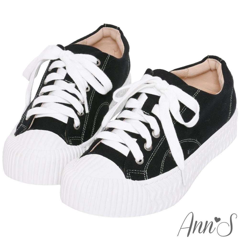 Ann'S黑科技-弄不髒防潑水綁帶帆布餅乾鞋-黑