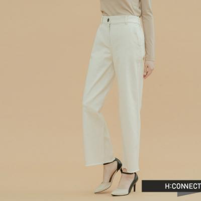 H:CONNECT 韓國品牌 女裝-質感挺版鬆緊寬褲-卡其