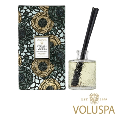 美國香氛VOLUSPA 日式庭園系列 法國杜松與薰衣草 浮雕玻璃罐室內擴香100ml