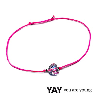 YAY You Are Young 法國品牌 Chateau 白水晶愛心手鍊 桃紅色