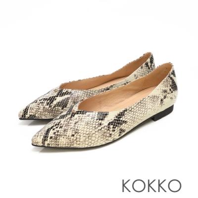 KOKKO - 經典彎折V口尖頭真皮平底鞋 - 蛇紋