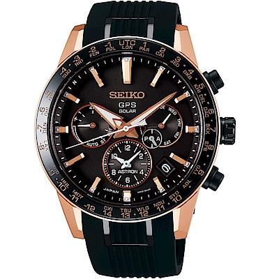SEIKO 精工 ASTRON GPS 5X53雙時區鈦金屬腕錶(SSH006J1)-矽膠