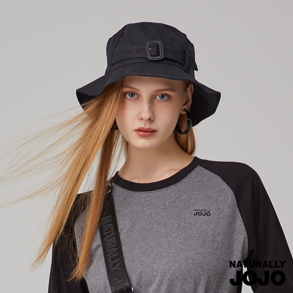 【NATURALLY JOJO】雙邊釦飾漁夫帽(黑)