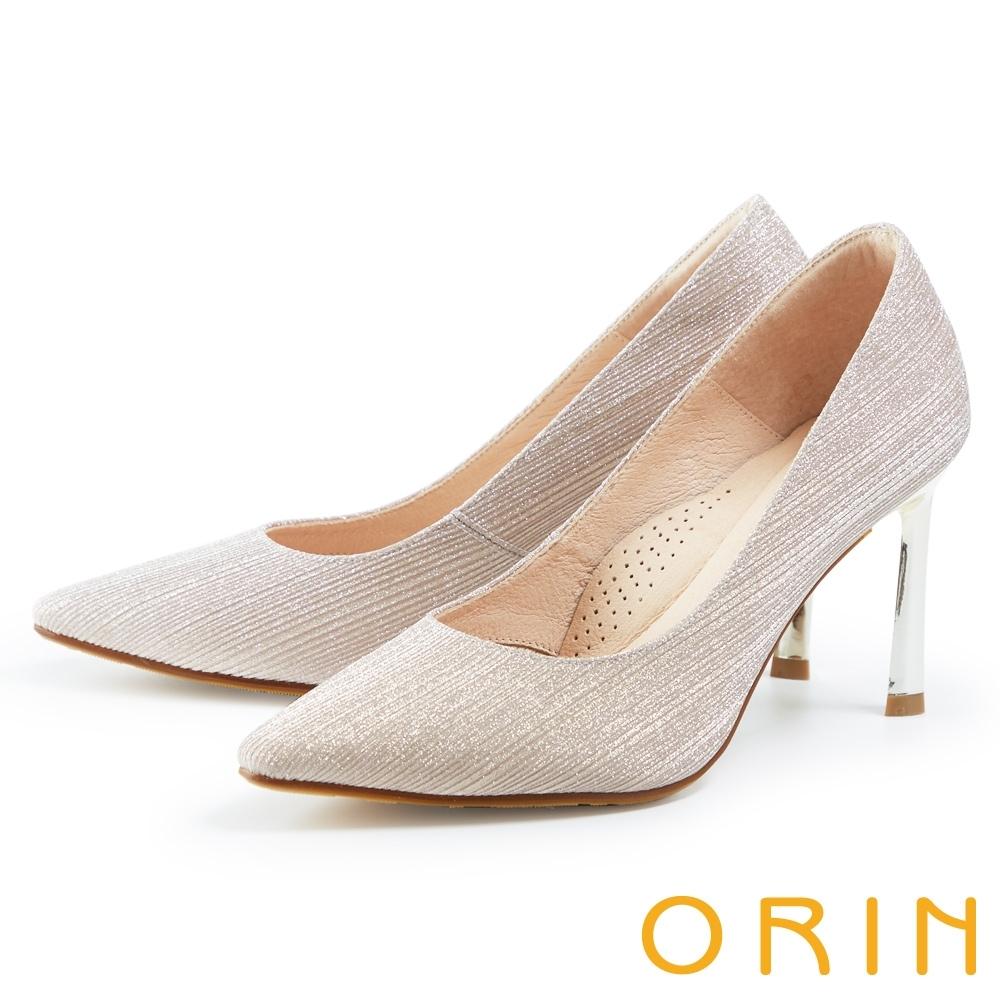 ORIN 素面摩登尖頭 女 高跟鞋 銀粉