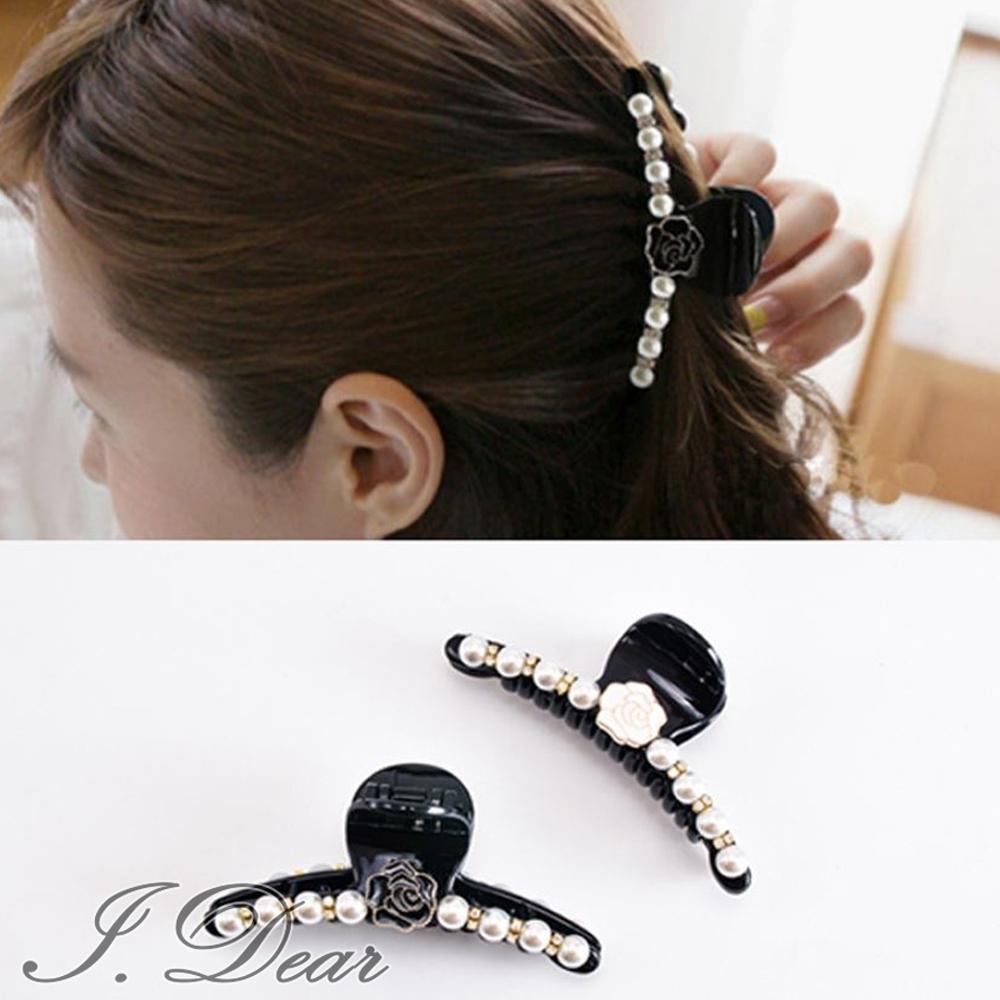 I.Dear-日韓髮飾-韓系氣質玫瑰花朵珍珠髮夾髮抓(2色)