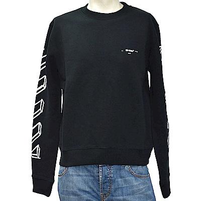 OFF-WHITE 白色筆觸箭頭指示圖案棉質長袖厚版圓領T恤(黑)
