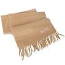 COACH淺卡素面馬車刺繡喀什米爾羊毛圍巾(183x30cm)