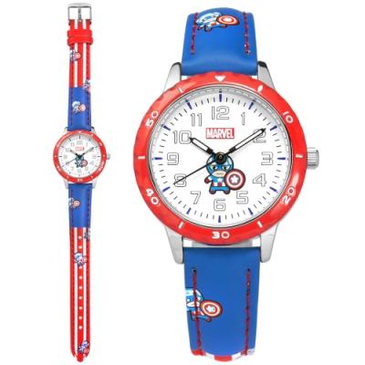 Disney 迪士尼 漫威系列 Q版美國隊長 兒童錶 卡通錶 皮革手錶-白x紅藍/32mm