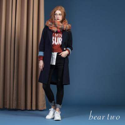 beartwo - 假兩件襯衫拼接短版T - 咖啡