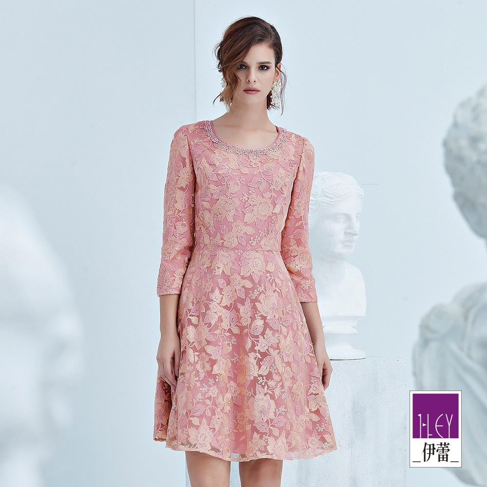 ILEY伊蕾 亮片織蔥雙色蕾絲洋裝(粉)