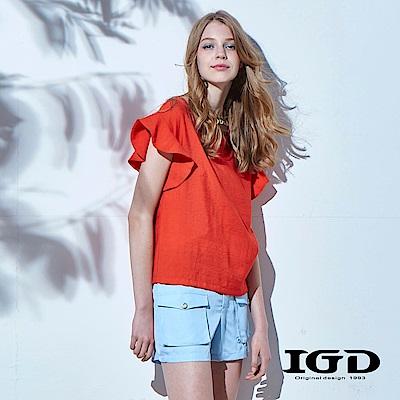 IGD英格麗 夏日浪漫悠閒風荷葉袖造型上衣-橘色