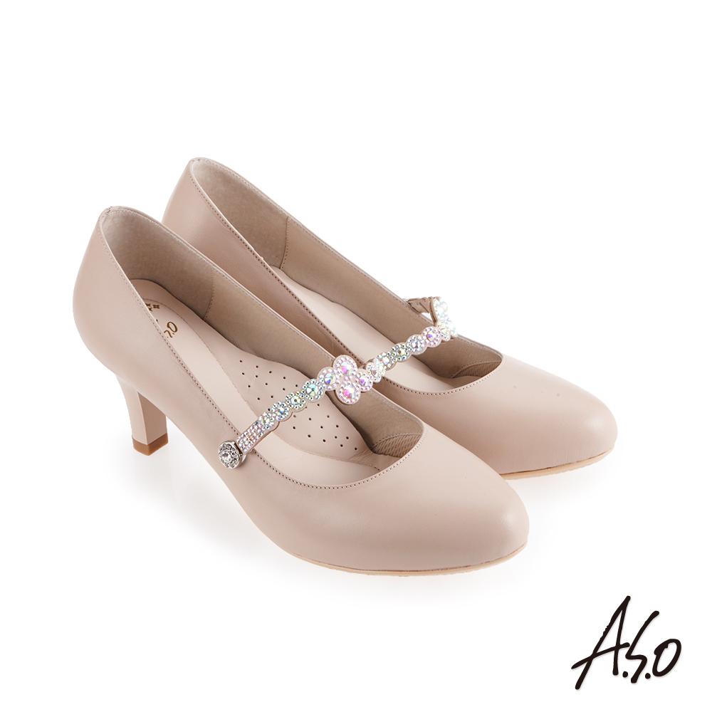 A.S.O 流金歲月 鞋腳背帶燙鑽高跟鞋 卡其