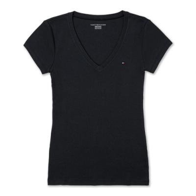 TOMMY 經典V領刺繡小LOGO素面短袖T恤 (女)-黑色