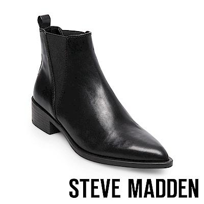 STEVE MADDEN-JERRY尖頭銳利真皮雀爾喜靴-黑色