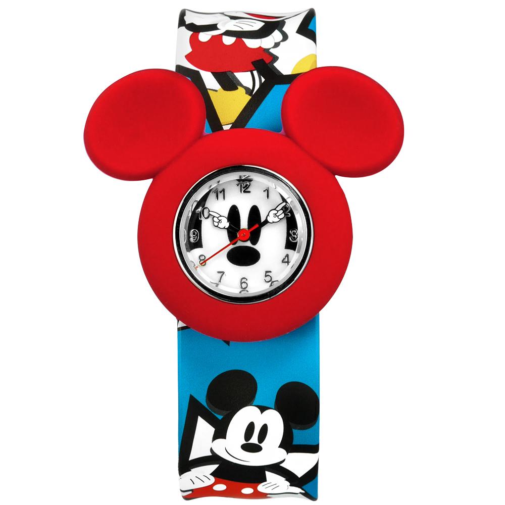 Disney 迪士尼★贈錶帶米奇米妮兒童卡通拍拍矽膠手錶-白紅x藍/32mm