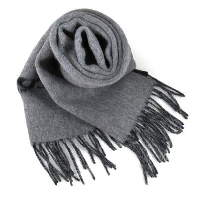 COACH 品牌大Logo黑灰雙色羊毛流蘇圍巾(183x31cm)