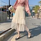 La Belleza假兩件鬆緊腰拼接蕾絲花朵網紗滾邊層次蛋糕裙