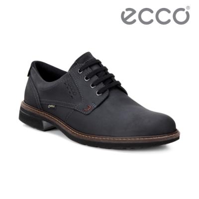 ECCO TURN 時尚磨砂牛皮圓頭防水休閒鞋 男鞋 黑色