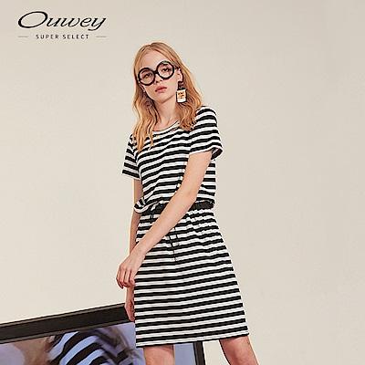 OUWEY歐薇 金蔥標語刺繡條紋洋裝(黑)