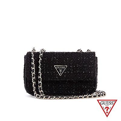 GUESS-女包-時尚毛呢編織鍊條斜背包-黑 原價2490