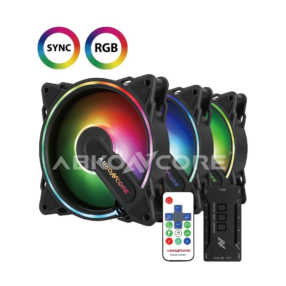 ABKONCORE 颶風系列 RGB風扇(三顆裝)SYNC AB-Hurricane-3