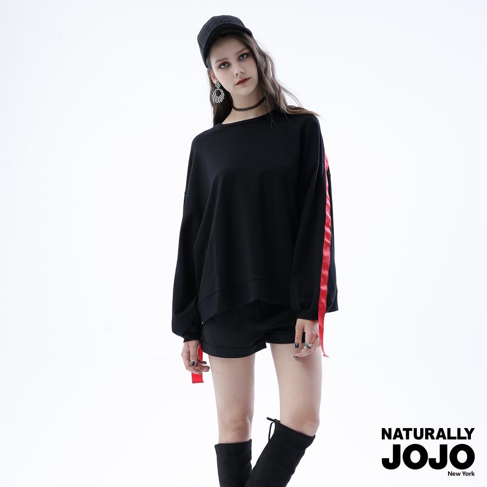 【NATURALLY JOJO】細柔毛配色織帶上衣(黑)