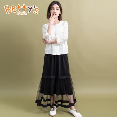 betty's貝蒂思 鬆緊腰圍長紗裙(黑色)