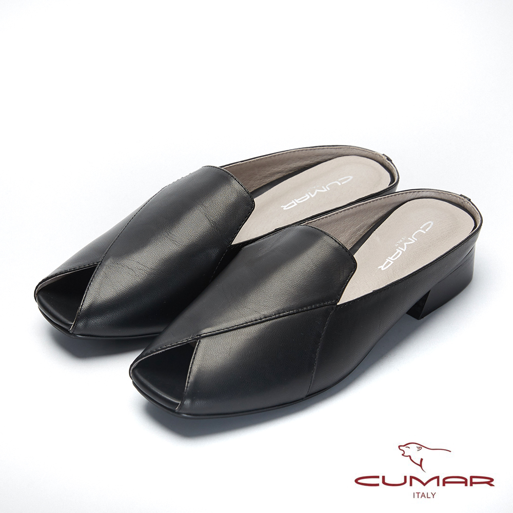 【CUMAR】文藝羅浮宮- 小方頭樂福鞋面魚口後空穆勒鞋