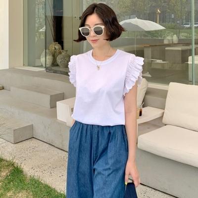 La Belleza圓領蕾絲花邊接袖高級棉彈性T恤