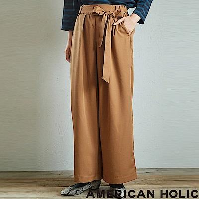 AMERICAN HOLIC 光滑綁帶素面寬褲