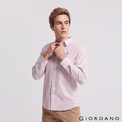 GIORDANO 男裝四季百搭刺繡彈力牛津紡襯衫-77 粉紅/白條紋