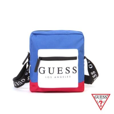 GUESS-男包-時尚撞色經典LOGO斜背包-藍
