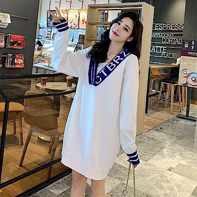 DABI 韓國風寬鬆慵懶風拼色V領長袖洋裝