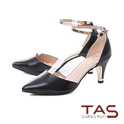 TAS質感金屬繞踝繫帶羊皮尖頭高跟鞋-女神黑